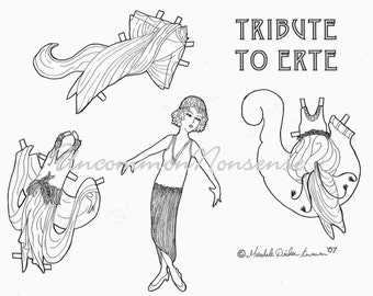 Tribute to Erte' Paper Doll, Adult or Child's Coloring Page