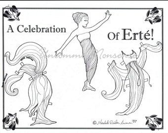 Artist Paper Doll, A Celebration of Erte', Adult or Child's Coloring Page download