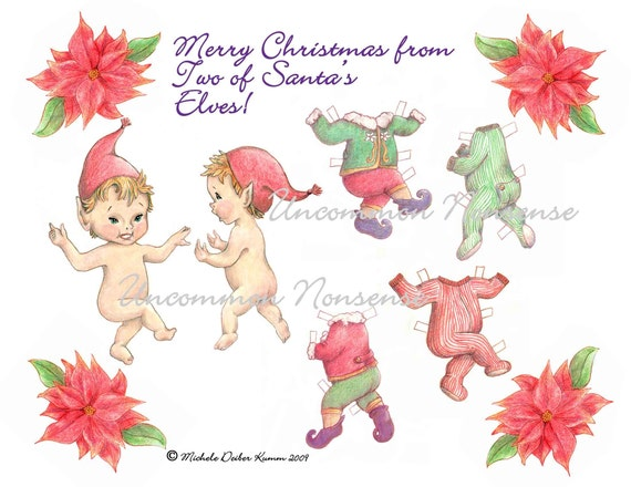 Christmas Paper Doll, Santa's Elves