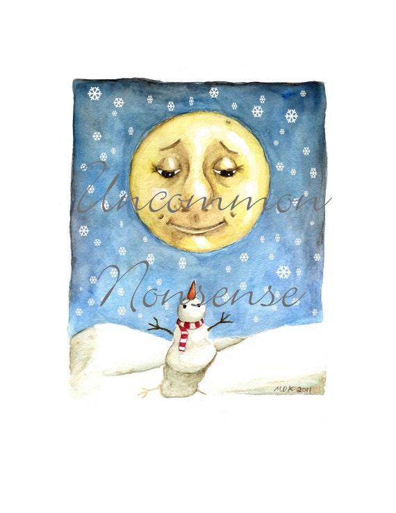 Snowman Moon, A Watercolor Print
