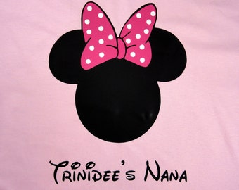 Personalized Custom Mouse Ears with bowT Shirt