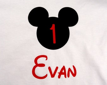 Personalized Custom Mouse Ears Birthday T Shirt