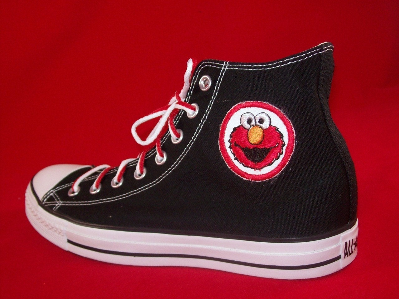 adult custom chuck taylor high top elmo converse shoes
