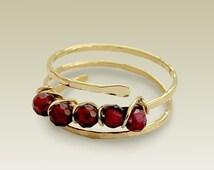 14K Gold Filled Ring, Gold Toe Ring, Garnet Gold Ring, Garnet Jewelry, Wire Wrapped Ring, Garnet Bead Ring, Yellow Gold Ring - Amore Mio