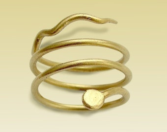 14K Gold Filled Ring, Spiral Band, Snake Ring, Gold Spiral Ring, Textured Gold Ring, Wire Wrapped Ring, Snake Jewelry - Night Crawling