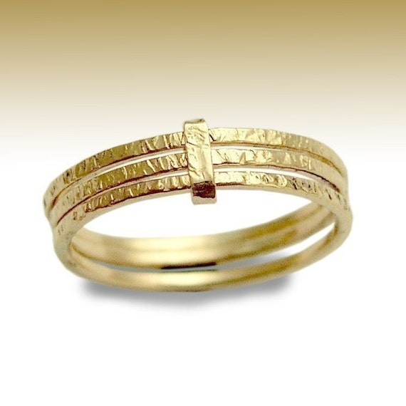 Stacking Rings, 14K Gold Filled Gold Toe Ring, Toe Ring, gold Toe Ring, Foot Jewelry, Triple Ring, Hammered Gold Rings - Feeling Love R90020