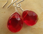 Red Earrings, Ruby Red Faceted Briolette and Silver Earrings