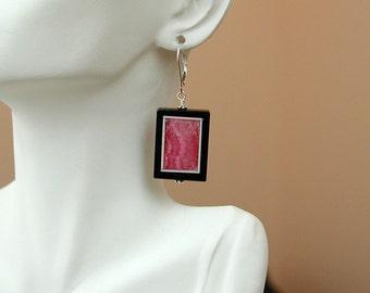 Rhodocrosite and Agate Sterling Earrings