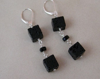 Lava Cube Sterling Silver Dangle Earrings