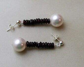 Garnet and Swarovski Pearl Earrings