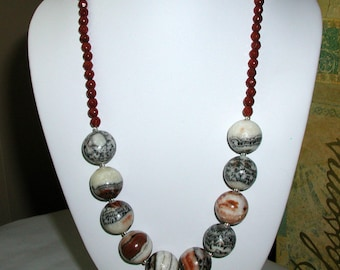 Red Zebra Jasper Necklace.