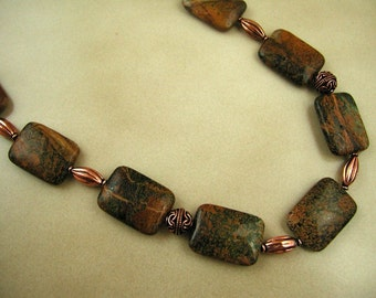 Green Opal and Copper Necklace. FREE US SHIPPING.