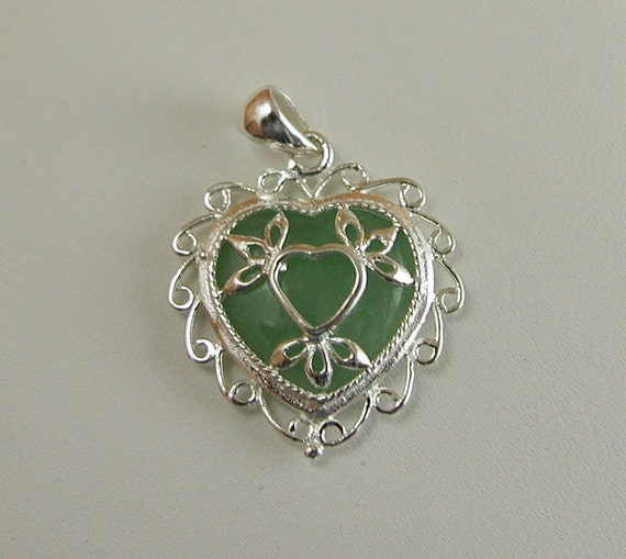 Natural Jade Sterling Silver Heart Pendant.