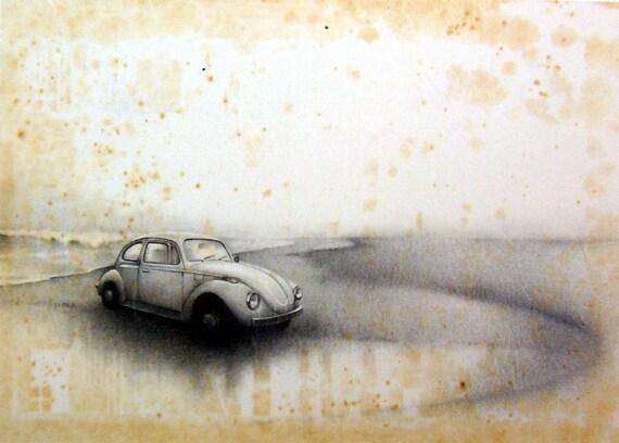 Sea Level - Pencil Drawing - Antique Tissue Paper Series