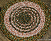 Earthy colors braided country cabin dollhouse rug