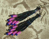 Bugle Seed Bead Chandelier Dangle Earrings  -  Green Iris and Neon Pink