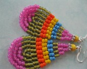 Seed Bead Earrings - Blue, Pink, Yellow,Orange and Green - small Teardrop Dangle