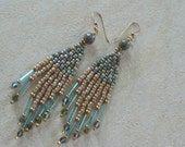 Seed and Bugle Bead Chandelier Dangle Earrings  -  Turquoise and Marbled Beige
