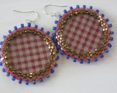 Seed Bead and Fabric Earrings with Bezel - Gingham Red