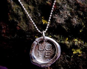 Sterling Silver Wax Seal Pendant - LOVE