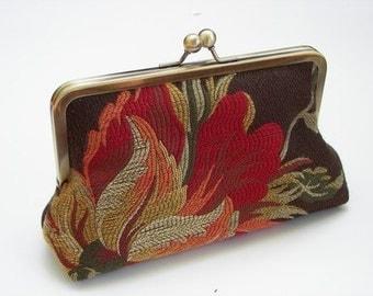 Selassie Clutch/purse/handbag  Silk Lining in Silver