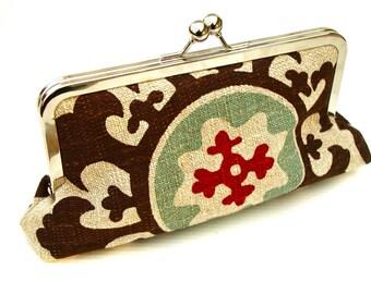 Maya Clutch/purse/ handbag Lined in Robin egg Silk