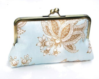 Daliah  Clutch, Handbag  lined in Peacock Teal Dupioni Silk