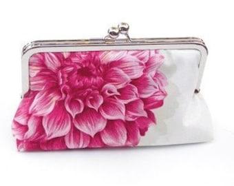 Melanie Clutch, Handbag Lined in Victorian Rose Dupioni Silk