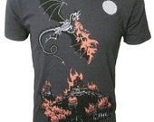 Men's Organic Dragon and Burning Castle Shirt