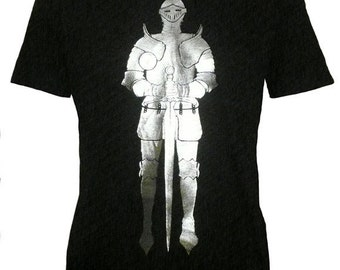 Men's Organic Medieval Knight in Armor Shirt, Silver Foil