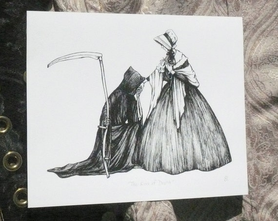 Grim Reaper Kiss of Death Archival Giclee Print, 8 x 10 Inches