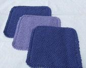 Cotton Dish Cloths - Knitted Set of 3 - 8 inch squares - Purple and Lavender or request your favorite color combination