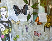 RESERVED. Under the influence of butterflies. Original oil painting.
