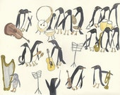 penguin art - Unorganized Orchestra.  Limited edition 13x19 print by Vivienne Strauss.