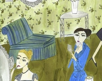 The ladies powder room at the Stork Club, 1953.  Limited edition print of an original watercolor painting by Vivienne Strauss.