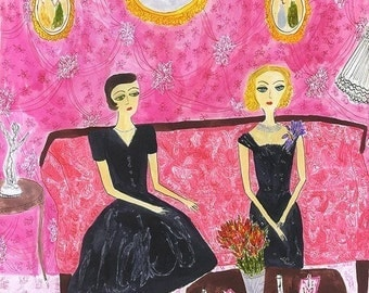 Fern and Gloria, after a long afternoon of bridge playing and gin drinking.  Limited edition print by Vivienne Strauss.