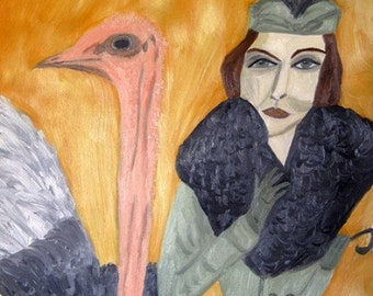 Lois has a chance encounter.  Limited edition print of an original oil painting by Vivienne Strauss.