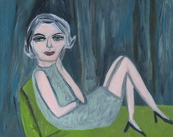 Joan, nearing the end of her blue period. Limited edition print of an original oil painting by Vivienne Strauss.