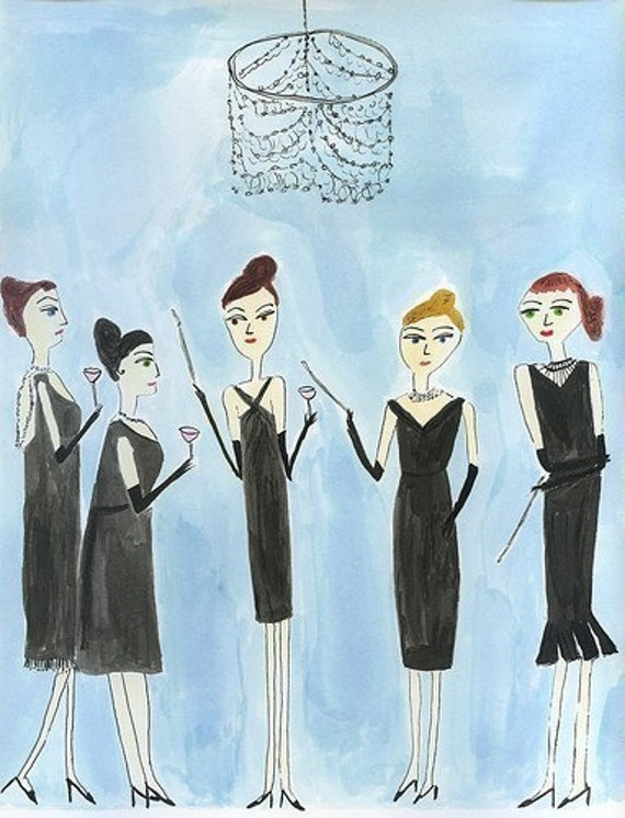 None of the girls would dream of missing Evangeline Boatwright's annual Holly Golightly party.  Limited edition print.