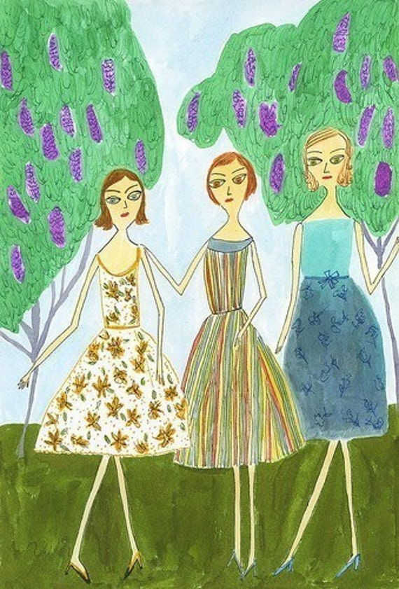 The girls.  Limited edition print by Vivienne Strauss.