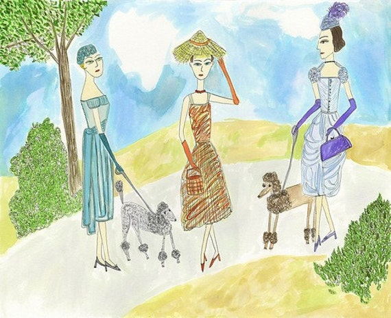 Alice, Henrietta, and Antoinette in the spring of 1955.  Original watercolor painting by Vivienne Strauss.