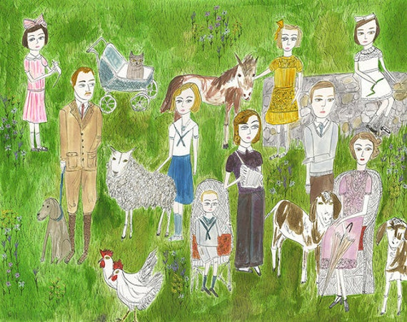 RESERVED. The Darling family at their country estate.  Original watercolor painting by Vivienne Strauss.