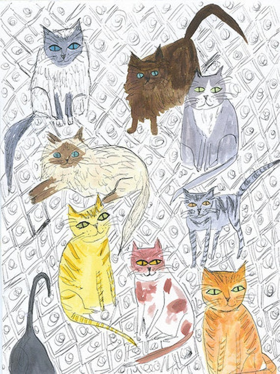 8 1/2 cats.   Original watercolor painting by Vivienne Strauss.