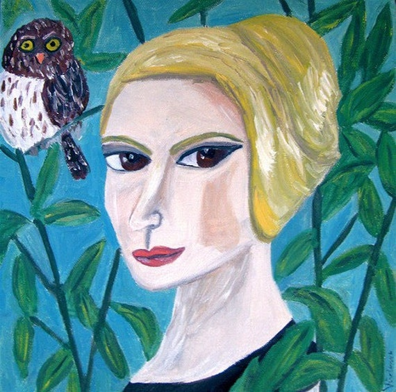 Vera with a northern pygmy owl.  Original oil painting by Vivienne Strauss.