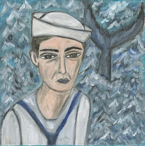 Francis goes whale watching. Original oil painting on canvas by Vivienne Strauss.