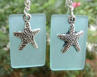 Beach glass jewelry  dangle earrings with star fish charm.