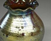 Raku Pot, raku pottery with Ruffled Neck in Gold Silvery Iridescent Colors