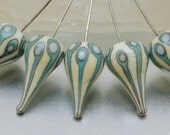 Head pins - Walking Dot teardrops (1) - ivory and copper green - sterling - by Jennie Yip