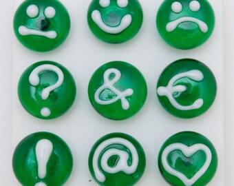 Designer Push Pins, transparent green set (9), lampwork glass