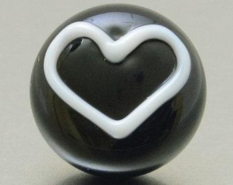 Lapel pin - My Black Heart - lampwork glass - Jennie Yip